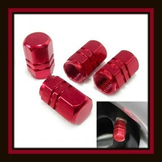 NEW 4-Pc Tire VALVE Stem Metal CAPS - RED - Fits All Standard Vehicle Tires Valves Stems!