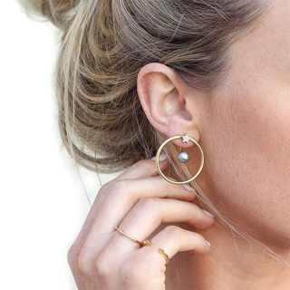 2 Pcs Women Personality Circle Bead Crystal Star Pearl Earrings Set Popular Party Wedding