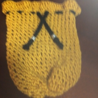 Pull string crochet gift bag .