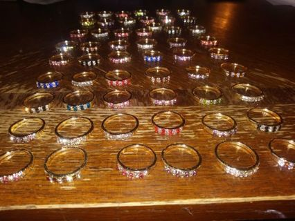 New Huge lot of 50 women's rings gold plated bands sizes 5-9