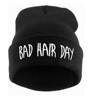 """NEW """"BAD HAIR DAY"""" LOGO KNIT BEANIE HAT EMBROIDERED CAP FREE SHIPPING"""