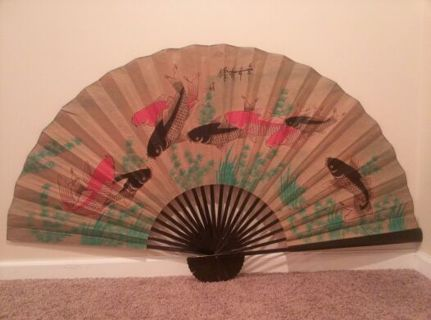 Free: Vintage Asian Oversized Decorative Hanging Wall Fan With Koi ...