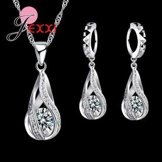 New Water Drop CZ Jewelry Sets 925 Sterling Silver Necklace&Earrings Wedding Jewelry For Women