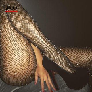 Sexy Women Glitter Fishnet Tights Black Back Line Rhinestone Pantyhose Womens Fishnet Pantyhose Mesh
