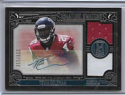 """2015 topps museum collection tevin coleman """"signature swatches"""" rc jersey/auto,#d226/300,falcons"""