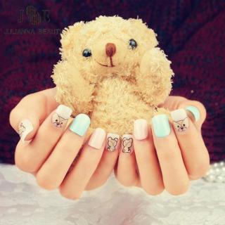 24pcs/set Fake Nails Cute Bear Designs French Manicure Unhas Tips Artificiais Acrylic Children Pri