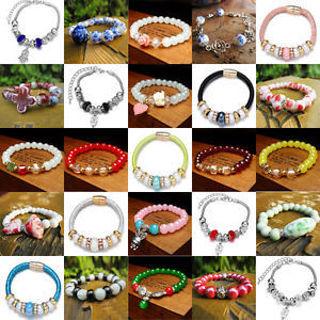 Fashion Women's lot Styles Alloy Beads Hole Cuff Pendant Bracelet Bangle Jewelry