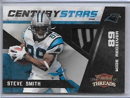 """2010 panini threads steve smith """"century stars"""" prime materials panther logo/patch,#D31/50,panthers"""