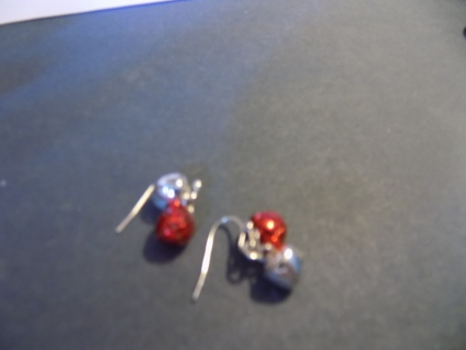 French Hook earrings with red and silver jingle bells