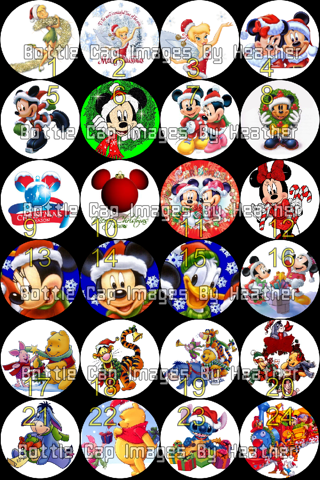 Free Disney Christmas Bottle Cap Images Scrapbooking Paper