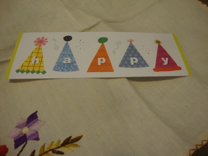 Happy Party Hats Bookmark ~ Free Shipping