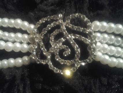 Blinged Rose Pearl Bracelet