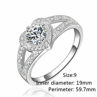 Elegant Silver Plated Rhinestone Crystal Heart Ring
