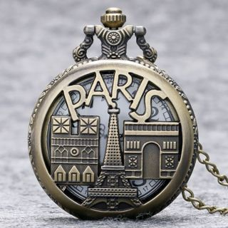 [GIN FOR FREE SHIPPING] Bronze Paris Vintage Quartz Pocket Watch Necklace