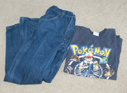 boys 14 slim jeans and POKEMON shirt lot!