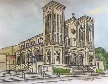 """CHURCH IN VICTORIA TEXAS  - 5 x 7"""" art card by artist Nina Struthers - GIN ONLY"""