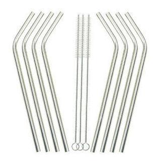 8Pcs Stainless Steel Metal Drinking Straws Reusable Straws +3 Cleaner Brush Kit