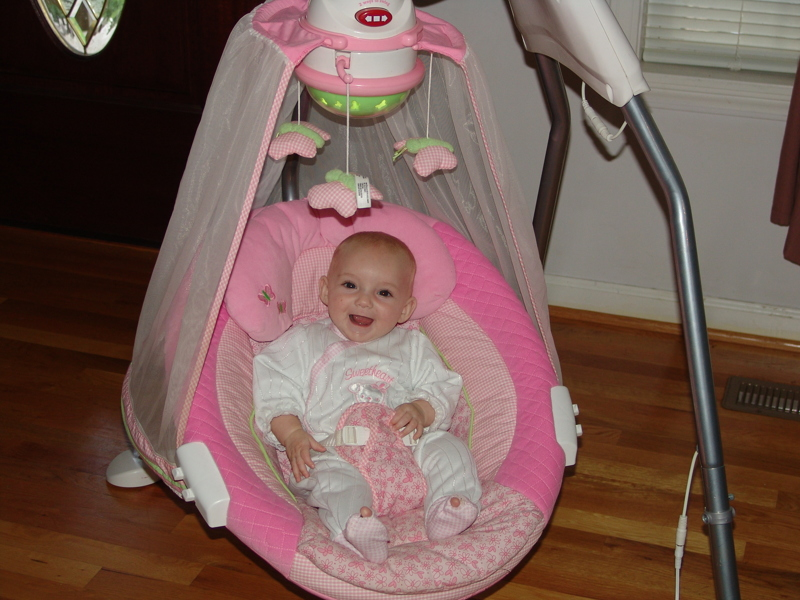 Free Fisher Price Pink Butterfly Papasan Cradle Swing
