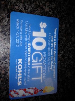 FREE Kohls 10 Promotional Gift Card