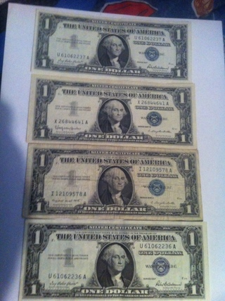 Free: Lot of 4 1957 1$ Silver Certificates One Dollar Bill 4$ Face ...