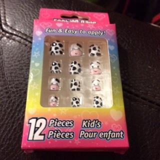 FREE New Kids Pre Glued Cow Fashion Nails Fake Farm