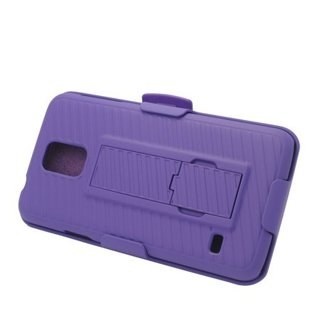 EagleCell Hard Hybrid Plastic Silicone Stand Case Holster For Samsung Galaxy S5 - Purple