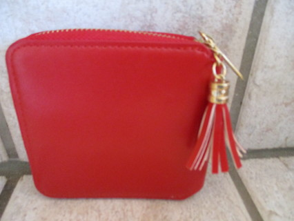 PRETTY RED WALLET-4X4 BY 1/2 INCH NEW!