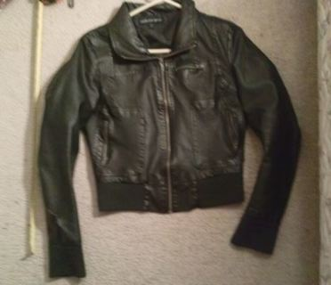 1 faux leather jacket soft cuffs