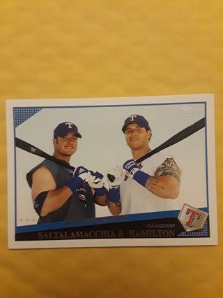 "Saltalamacchia & Hamilton ""Brothers In Arms"" Texas Rangers Topps baseball card"