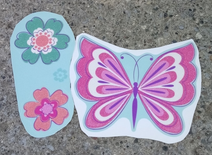 BUTTERFLY AND DRAGONFLY AND FLOWER GLITTER WINDOW CLINGS