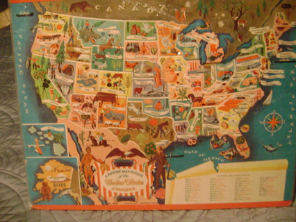 Free: vintage picture map puzzle of the United States of ...