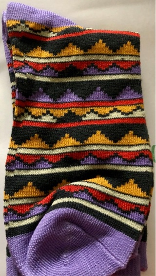 BNWT Cute Multi Colored, Purple Calf Length Socks! Fits Sizes 9 - 11.