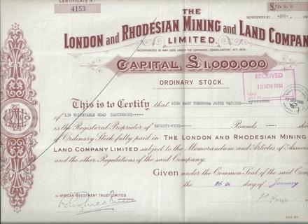 London & Rhodesian Mining & Land stock certificate 1938 Great Britain