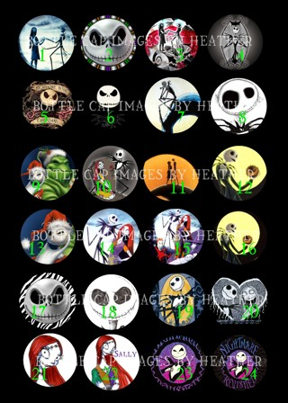 Nightmare Before Christmas Bottle Cap Images
