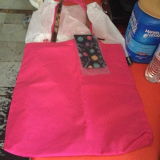 BN pink Lancome bag with attached make up bag