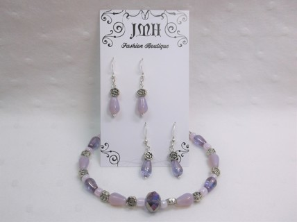 Pink & Purple Bracelet Set w Matching Earrings