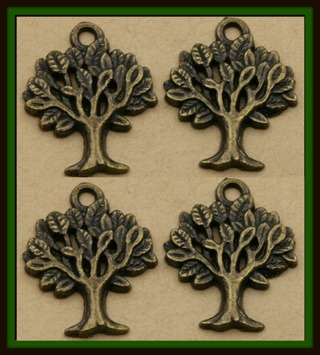 4 (four!) pcs TREE of LIFE Bronze Tone Charms Pendants, 20mm x 17mm, Brand NEW!