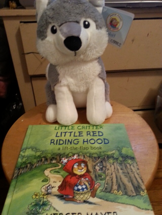 Cute little red riding hood little critters book and stuffed wolf animal.