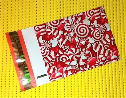"10 HOLIDAY CANDY CANES 6"" x 9"" Poly Mailers"