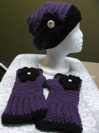 Cute PURPLE/BLACK Handmade Crocheted / Knitted Ear Warmers / Headband And Matching Fingerless Gloves