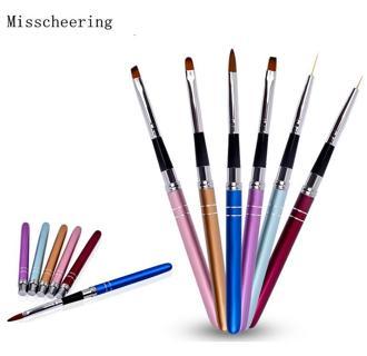 1 PCS New 6 Colors Nail Pen Metal Handle Nail Art Brush UV Gel Polish 3d Painting Pen Liner DIY Na