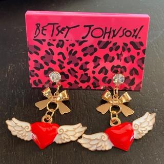 Betsey Johnson Heart Wings Earrings