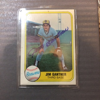 Jim Gantner Autographed Baseball Card Milwaukee Brewers 1981 Fleer No. 522