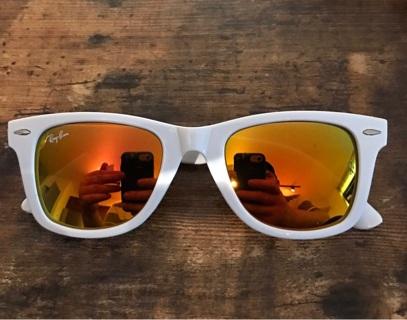 White & Fire Rayban Sunglasses