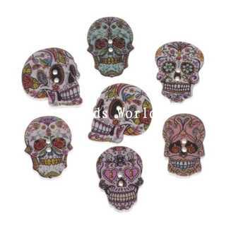 LAST ONES! Gorgeous Wooden Sugar Skull Buttons! Dia De Los Muertos
