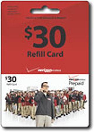 30 verizon wireless prepaid cellphone refill card - Prepaid Cell Phone Cards