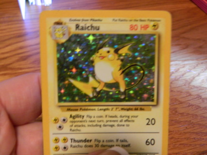 Raichu 14/102 RARE Holo - c1999 Wizards Base Set Pokemon Card - FREE Shipping!