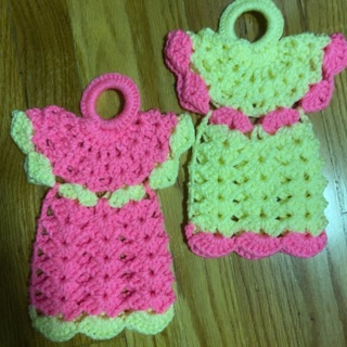 Hand crocheted Pair of Large Angel Potholders .