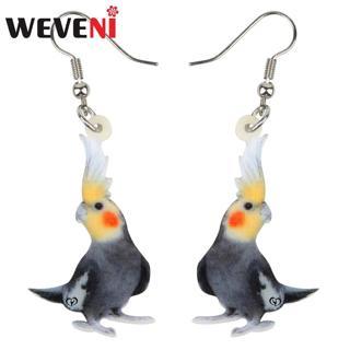 WEVENI Acrylic Clever Nymphicus hollandicus Bird Earrings Drop Dangle Stud Cute Fashion Jewelry For