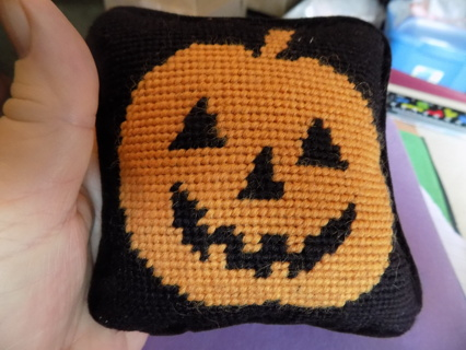 4 1/2 inch square needlepointed jack a lantern pillow
